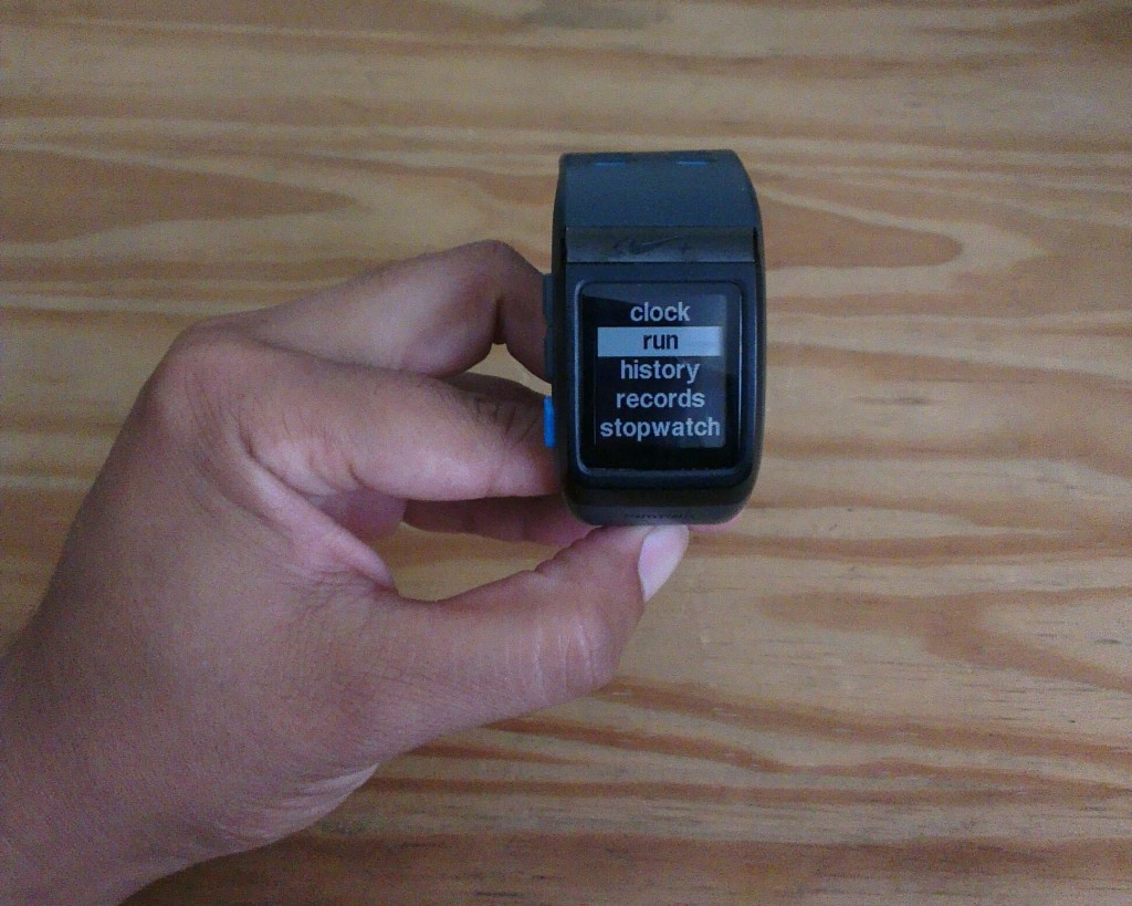 The Nike+ SportWatch GPS menu