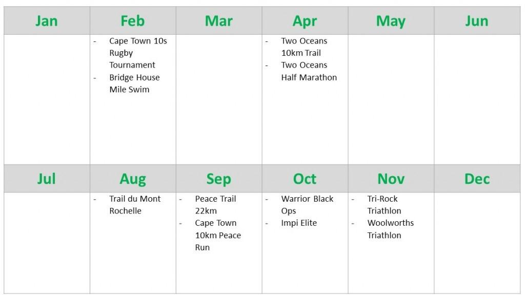 2015 Race Calendar